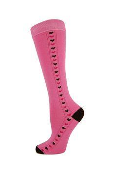 Ladies 1 Pair socksupermarket Kneehigh Tiny Hearts Pink Design - Patterned - Ladies Socks   Socksupermarket
