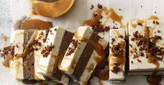 This ice cream slab is a breeze to whip up and you can make this chocolate, peanut version ahead of time so it's perfect for entertaining. Plus, caramel sauce is always a winner!