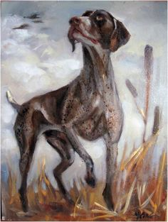 """'Keen Watch' Hunting Dog Oil on 6x8"""" Gessoboard panel by Margot King  #Realism"""