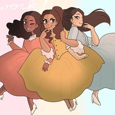 yes i forgot the sparkles but!! a redraw of my first schuyler sisters drawing from last year! this was always one of my favorite pieces aww✨ #theschuylersisters #angelicaschuyler #peggyschuyler #elizaschuyler #hamilton #hamiltonmusical #hamart