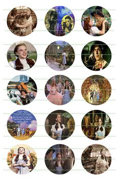 Wizard Of Oz #2 PreCut 1 inch x 1 inch Circles Wizard Of Oz Bottle Cap Images…