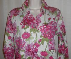 TALBOTS Blouse Shirt Floral Button Up Career Women Size 6 Long Sleeve Flip Cuff #Talbots #ButtonDownShirt #Career