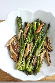 Sesame Roasted Asparagus and Shitake - TheCornerKitchenBlog.com