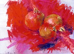 Pomegranates by Nancy Macdonald Pastel ~  x