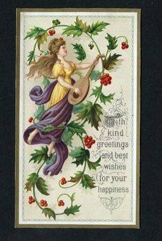 VICTORIAN CHRISTMAS Card,Embossed Lady ,Musical Instrument,Berries & Greeting. - £1.99. Victorian Christmas card , size 80 x 140 mm ,embossed lady , musical instrument , berries & greeting . Good condition . See illustrations . 232712257748
