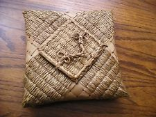 RARE Antique Penobscot Indian Handkerchief BASKET Sweet Grass with Attached Lid