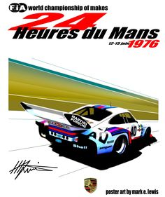 Le Mans 76' retro poster by Mark E. Lewis