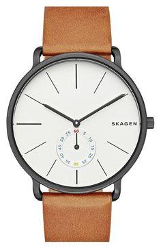 Skagen 'Hagen' Leather Strap Watch, 40mm | Nordstrom