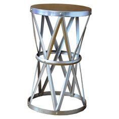 Threshold Round Hammered Metal Accent Table
