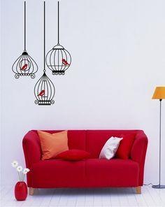 Birdcage Wall Decals with 3 birds  Wall by singlestonestudio, $38.00