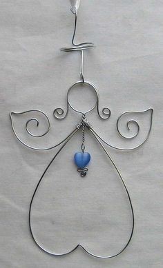 wire angel - I would put the wings upside down and make them longer and bigger. Nice for tree decorations.: