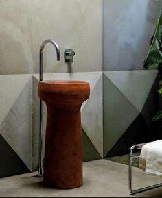 free standing washbasin made of terracotta