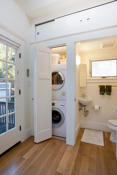 bathroom laundry combo room traditional with sliding doors a compliant toilet bo… - Small Laundry Room Laundry Bathroom Combo, Small Laundry Closet, Pantry Laundry Room, Laundry Room Organization, Small Bathroom, Master Bathroom, Organization Ideas, Compact Bathroom, Downstairs Bathroom