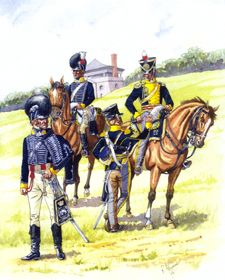 19th Regiment of Light Dragoons- (Fort Niagara) 1814. From left to right: officer, parade dress, 1813; private, 1813; sergeant, service dress, 1814-16; officer, service dress, 1814-16. Three squadrons of the 19th Light Dragoons served in the Canadas from  May 1813 to August 1816. It is recorded that the new clothing of the 19th was shipped from Britain to Canada in the spring of 1813 for issue on 25 December 1813, as per regulations.  Image- Company of Military Historians