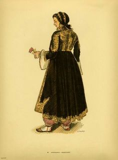 Traditional women's costumes from Southern Albania Greek Traditional Dress, Traditional Outfits, Ancient Greek Costumes, Fashion Illustration Template, Greece Fashion, Costumes Around The World, Greek Clothing, In Ancient Times, Folk Costume