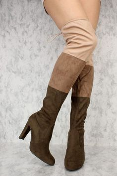 cfeff30fa84 Olive Color-Block Paneled Round Pointy Toe Thigh High Heel Boots Suede