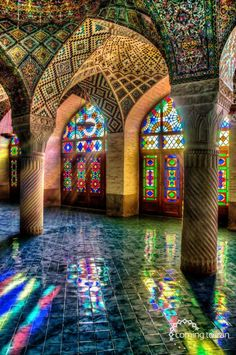 Mosque of Colors Photo by Ramin Rahmani Nejad -- National Geographic Your Shot. Nasir Al-Mulk Mosque, Shiraz, Iran Architecture Cool, Islamic Architecture, Contemporary Architecture, Beautiful Mosques, Beautiful Buildings, Colourful Buildings, Beautiful World, Beautiful Places, Beautiful Scenery