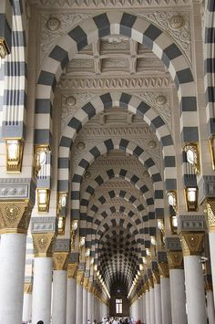 Interior architecture of Masjid al Nabawi in Medina, Saudi Arabia