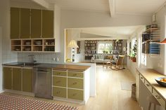 olive green cabinet fronts, open cubby shelving with cabinets above // fort & field 1950s Kitchen, New Kitchen, Kitchen Dining, Kitchen Decor, Interior Design Living Room, Interior Decorating, Compact Living, Kitchen Cupboards, Home Kitchens