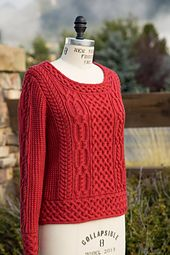 "My final project for the TGKA Master Hand Knitting Program is a modern Aran design with a Celtic flair. This bottom-up pullover sweater, in Sally Melville's attractive ""balance point"" length, is worked flat and features horizontal braided bands around the bottom of the body and the set-in sleeves. The bands, edged in slipped stitches, are worked first then stitches picked up to continue knitting the body and sleeves. Stitches picked up around the wide portrait neck are worked with Lily…"
