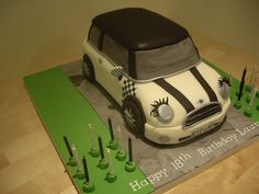 Why don't all cars have eyelashes like this Mini Cooper car cake! by The Foxy Cake Company, vi Fondant Bow, Fondant Cakes, Cupcake Cakes, Fondant Flowers, Mini Cooper Cake, Cooper Car, 5th Birthday Cake, Easy Minecraft Cake, Modeling Chocolate