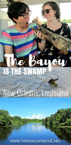 The Bayou Is The Swamp, New Orleans, Louisiana: You have to visit the Bayou on any trip down to New Orleans, Louisiana. Catch a boat and see some gators! How to tour the swamps of New Orleans and even see or TOUCH some real alligators.
