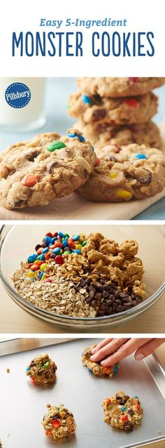 These 5-ingredient monster cookies prove that less is more with too-good-to-be-true ingredients like peanut butter cookie dough, chocolate chips, M&M's candies, peanuts and oatmeal. Can't eat peanuts? Just leave them out! You may also substitute an extra 1/4 cup M&M's candies instead.