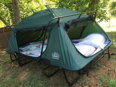 We fell for this Double Cot Tent the minute we laid eyes on it and how comfy does it look. This is perfect for weekend getaways and the price is fabulous. Check out the features below! 2-person tent cot with fully enclosed 420-denier nylon sides Cot sits 11 inches off the ground for moisture protection ...