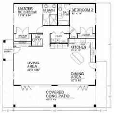 Spacious Open Floor Plan House Plans with the Cozy Interior : Small House Design. - Enne's Decor - Splendid Spacious Open Floor Plan House Plans with the Cozy Interior : Small House Design Open Floo - 2 Bedroom Floor Plans, Open Floor House Plans, Kitchen Floor Plans, Tiny House Plans, Small House Plans Under 1000 Sq Ft, Small Home Plans, Small Floor Plans, 2 Bedroom Apartment Floor Plan, Square Floor Plans