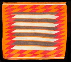 NAVAJO SADDLE BLANKET  Natural wool and synthetic colors on hand spun yarns ca. 1950