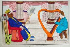 David speelt harp voor koning Saul. www.gelovenisleuk.nl