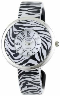 "Golden Classic Women's 1603_Zebra ""Fame Fortune"" Round Bezel Pattern Bangle Watch Golden Classic. $21.45. Water-resistant to 99 feet (30 M) - not recommended to take into deep water or shower. Sleek silver metal and zebra pattern round bezel. White dial with contrasting hour, minute and second hands. Highest Standard Quartz movement. Zebra pattern band; Bangle watch"