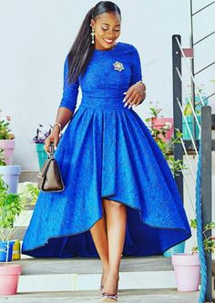 Blue African Print Dress/High Low Dress/African Clothing/African Dress For Women/African Fabric Dres African Party Dresses, African Dresses For Women, African Print Dresses, African Attire, African Wear, African Fashion Dresses, African Dress Styles, Fashion Outfits, African Style