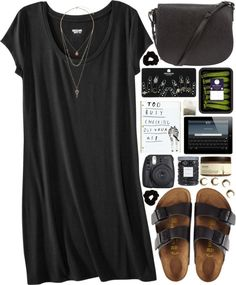 Daily Chic dress / Birkenstock sandals / Alexander Wang studded purse / Topshop set ring / Topshop bead jewelry / Forever 21 scrunchie hair accessory