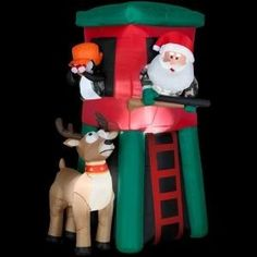 Airblown Lighted Santa in Deer Stand at The Home Depot - Oh my gosh, this is for real! Redneck Christmas, Christmas Art, Winter Christmas, Christmas Ideas, Favorite Holiday, Holiday Fun, Holiday Ideas, Holiday Decor, Santa And Reindeer