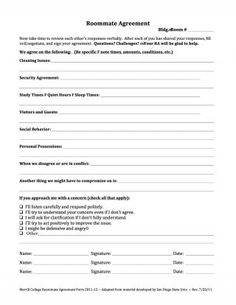 Printable Sample Roommate Agreement Form Form  Roommate Rental