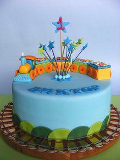 So cute! Train cake for little boy