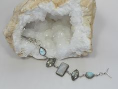 Larimar and Moonstone Bracelet 11 with Green Amethyst
