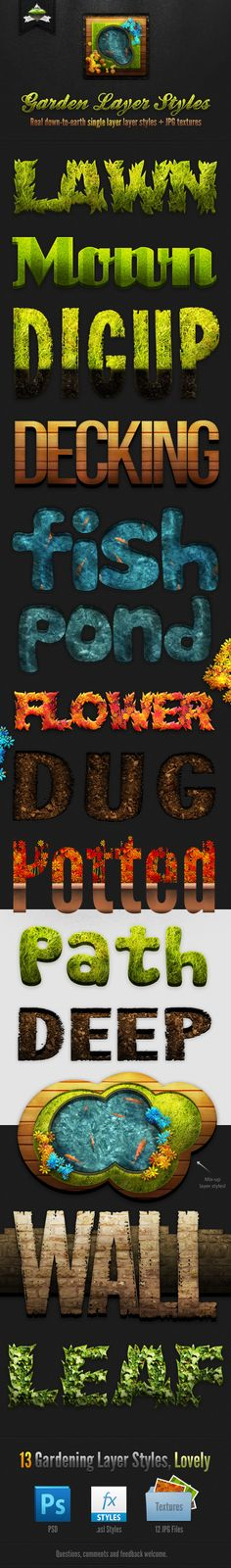 Garden Layer & Text Styles — Layered PSD #mown #flowers • Available here → https://graphicriver.net/item/garden-layer-text-styles/223265?ref=pxcr