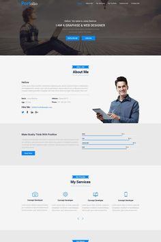 Portolio PSD Template Portfolio Resume, Portfolio Design, Cv Template, Psd Templates, Website Design Layout, Design Web, Ui Design Inspiration, Design Ideas, Top Wordpress Themes
