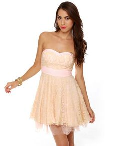 Piece of Cake Strapless Pink Lace Dress