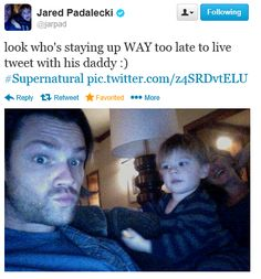 """Jared Padalecki on Twitter with Thomas, during Supernatural 9x08 """"Rock and a Hard Place"""""""