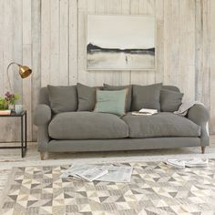 Loaf |  Crumpet sofa in Granite vintage linen | from £1155 (free delivery to most UK addresses)