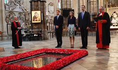 Joined by the Dean of Westminster Dr John Hall, Prince Harry, Queen Letizia and King Felipe paid their respects beside the grave of the Unknown Warrior inside the Abbey.     Photo: Getty Images