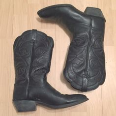 Black Cowboy Boots Women's Ariat These are quality boots! Such a great staple, another item that I have a little bit of a hard time letting go of. These were bought out in Utah, genuine authentic leather. Beautiful stitching. All around steal! Please feel free to ask questions :) Ariat Shoes