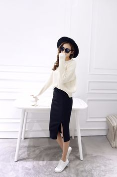 3300+Orders:Price$4.69 A Little Thick Autumn Sexy Chic Pencil Skirts Office Look Natural Waist Mid-Calf Solid Skirt Casual Slim Hip Placketing