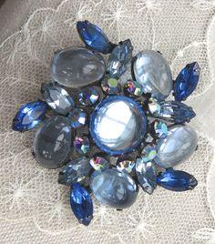 Vintage 1950's Blue Cabachon Brooch Pin by VintageVogueTreasure, $42.00