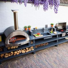 Small Outdoor Kitchens, Modern Outdoor Kitchen, Outdoor Cooking Area, Outdoor Sinks, Pizza Oven Outdoor, Backyard Kitchen, Outdoor Kitchen Sink, Outdoor Barbeque, Small Patio Kitchen Ideas