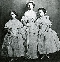The Princess Louise, Alice and Helena of the United Kingdom dressed as bridesmaid for their sister Victoria, Princess Royal.