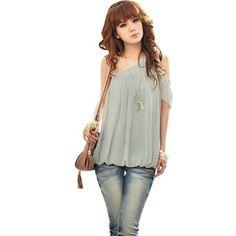 Amazon.com: Allegra K Ladies One Cut Out Shoulder Semi Sheer Casual Chiffon Top Shirt Pale Gray XS: Clothing
